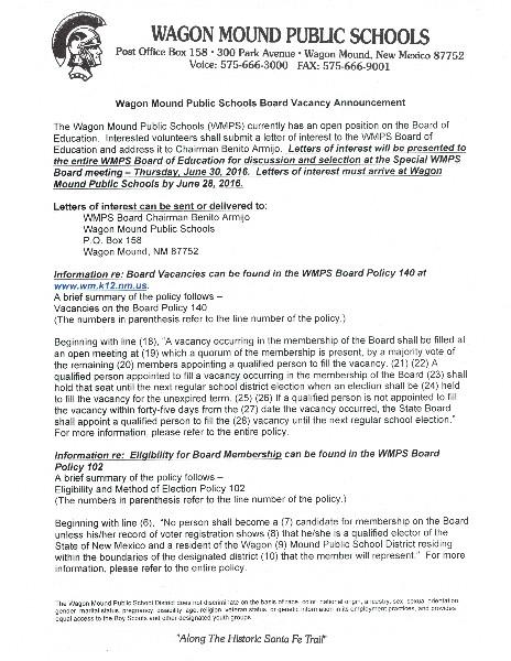 Wagon Mound Public Schools - WMPS Board of Education Vacancy